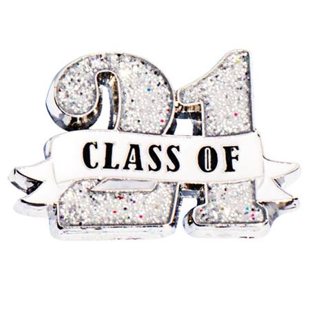 Class of '21 White Ribbon Glitter Pin
