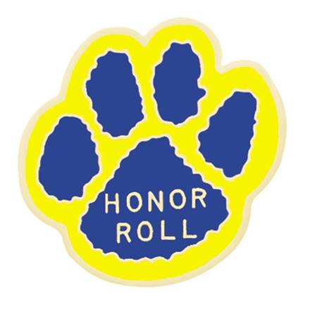 Honor Roll Paw Award Pin - Yellow/Blue