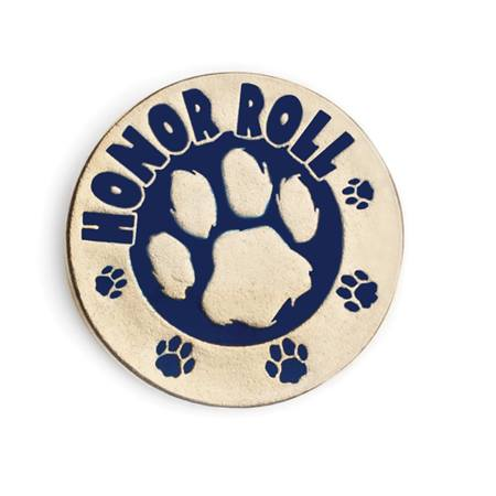 Honor Roll Award Pin - Blue and Gold Paw
