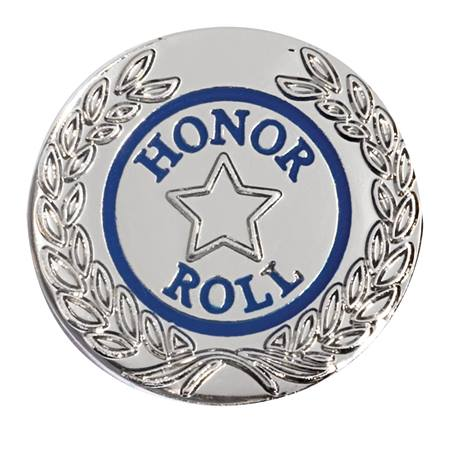 Honor Roll Award Pin - Blue With Silver Laurel