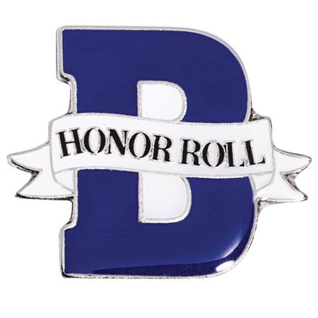 B Honor Roll Award Pin