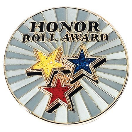 Honor Roll Award Pin with Stars