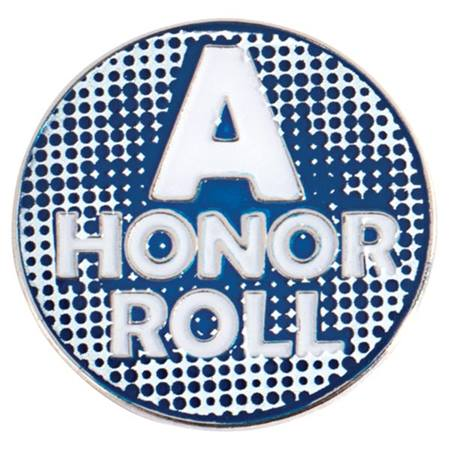 A Honor Roll Award Pin - Blue and White
