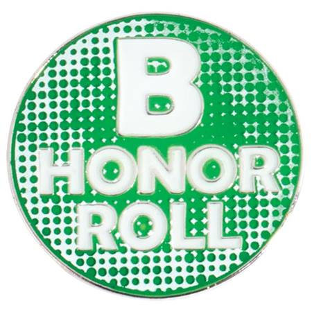 B Honor Roll Award Pin - Green and White
