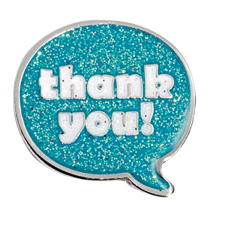 Thank You Glitter Award Pin