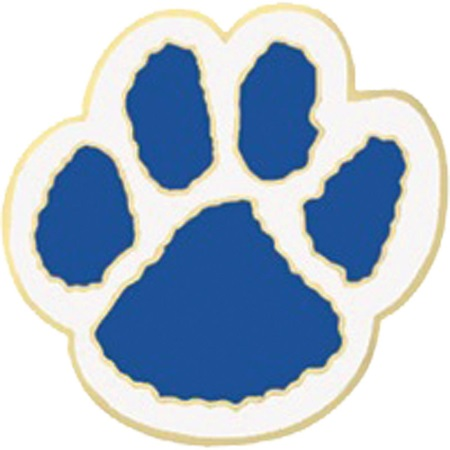 Paw-shaped Award Pin - Blue and White