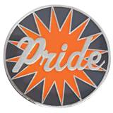 Orange Pride Burst Cursive Pin