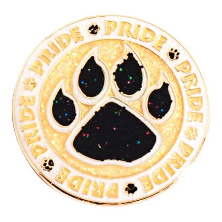 Paw Pride Circle Glitter Award Pin - Gold and Black