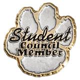 Student Council Award Pin - Gold and Silver Paw