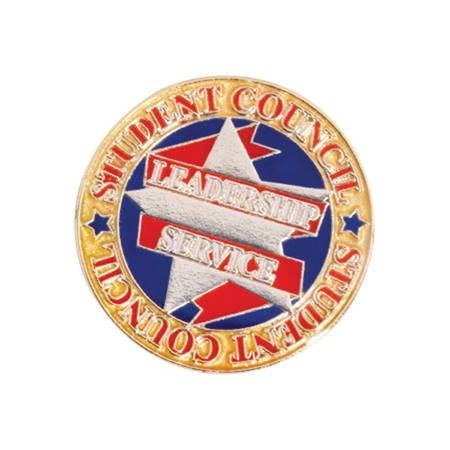 Student Council Award Pin - Red, Gold, and Blue