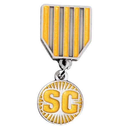 Student Council Gold and Silver Stripes Dangler Pin