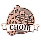 Choir White Ribbon Brushed Metal Pin