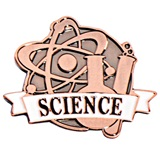 Science White Ribbon Brushed Metal Pin