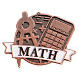Math White Ribbon Brushed Metal Pin