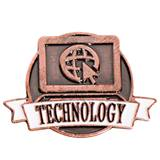 Technology White Ribbon Brushed Metal Pin