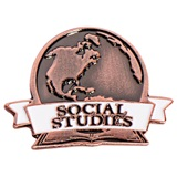 Social Studies White Ribbon Brushed Metal Pin