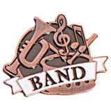 Band White Ribbon Brushed Metal Pin