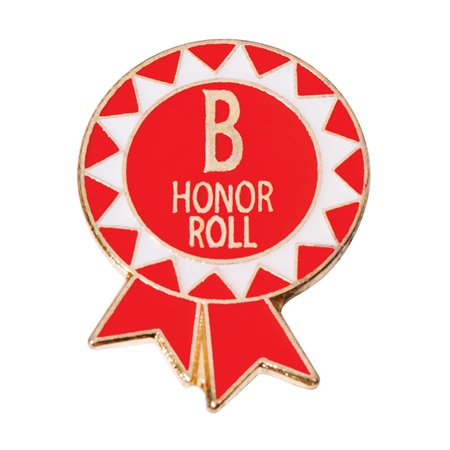 B Honor Roll Award Pin – Funky Red Ribbon