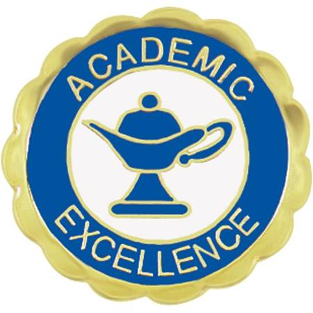 Academic Excellence Award Pin – Lamp of Learning Blue