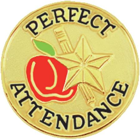 Perfect Attendance Award Pin – Apple, Pencil, Star