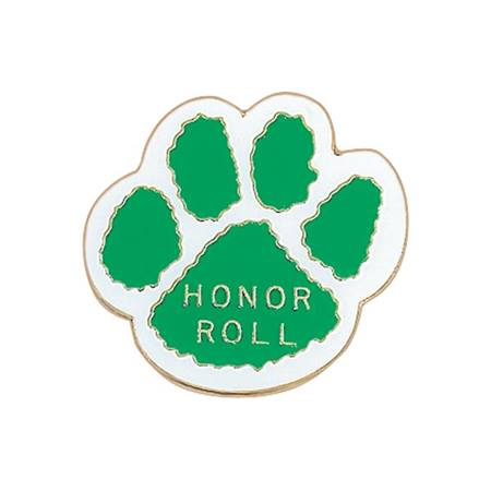 Honor Roll Paw Award Pin – Green/White