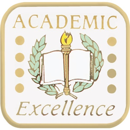 Academic Excellence Award Pin – Book, Laurel & Torch