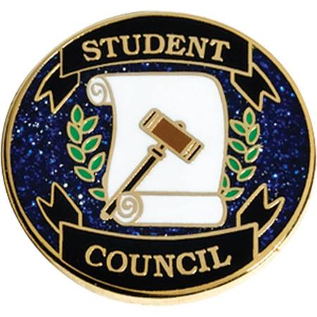 Student Council Award Pin – Gavel and Scroll on Blue Glitter