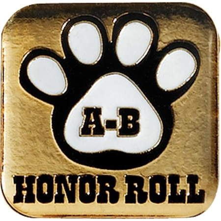 A-B Honor Roll Award Pin – White Paw on Gold