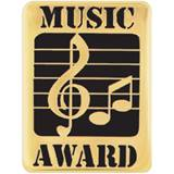 Music Award Pin – Gold/Black Treble Clef & Eighth Notes