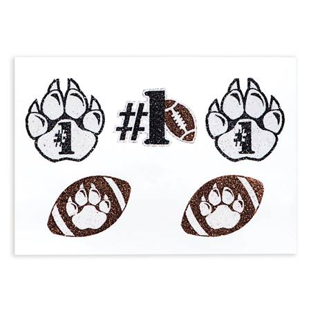 Glitter Body Decals - Paw Football