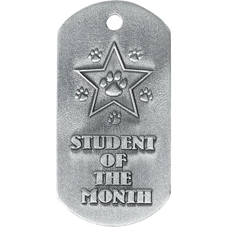 Embossed Dog Tag - Paw Student of the Month
