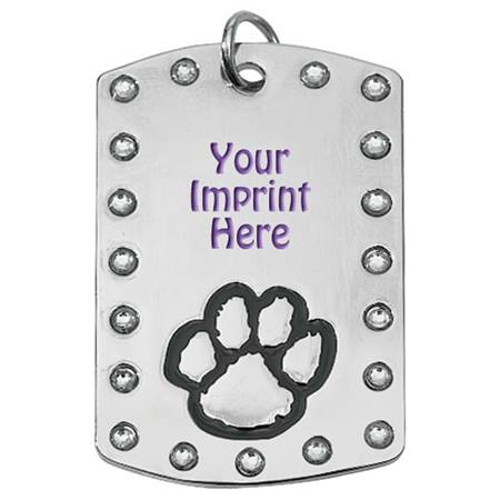 Custom Bling Dog Tag with Paw Design and Chain