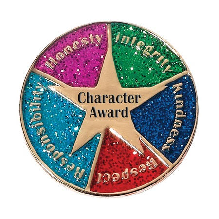 Character Award Pin - Gold Star/Glitter