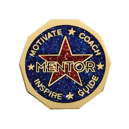Mentor Award Pin - Red and Blue Glitter