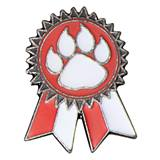 Sunflower Ribbon Lapel Pin - Red and White/Paw