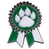 Sunflower Ribbon Lapel Pin - Green and White/Paw