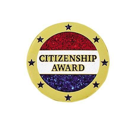 Citizenship Award Pin – Red/Blue Glitter