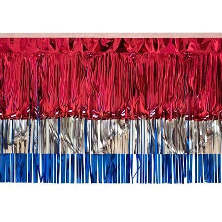 Red, Silver, and Blue Metallic Fringe