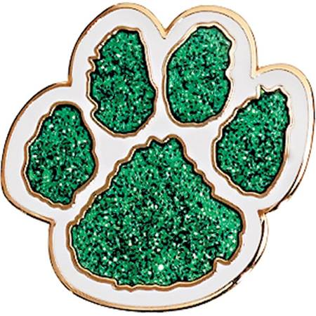 Glitter Paw Print Award Pin, Green and White