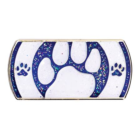 White and Blue Peek-A-Boo Paw Award Pin