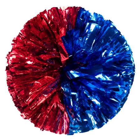 Metallic Cheerleader Pom-Poms - 4 in. Half-n-Half with Baton Handle
