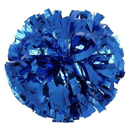 Metallic Cheerleader Pom-Poms - 4 in. Solid Color with Baton Handle