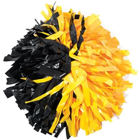 Plastic Cheerleader Pom Poms 4 In Half N Half With Baton Handle