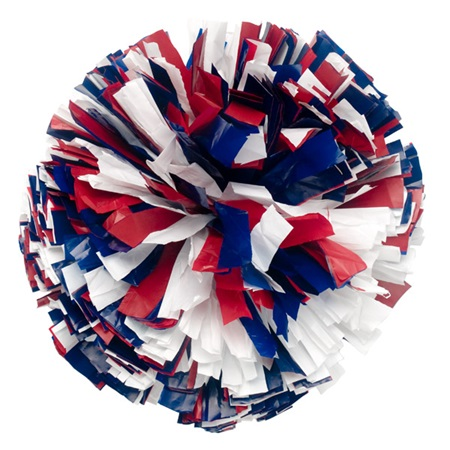 Plastic Cheerleader Pom-Poms - 4 in. Three Color Mix with Baton Handle