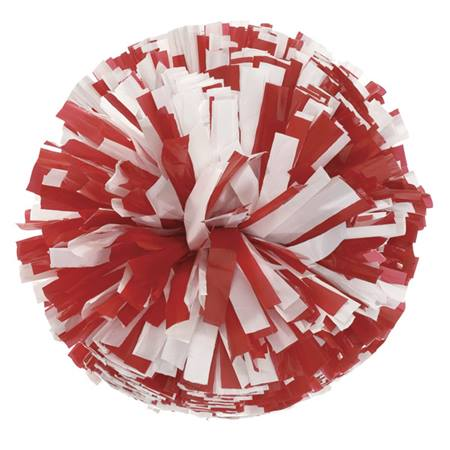Plastic Cheerleader Pom-Poms - 4 in. Two Color Mix with Baton Handle