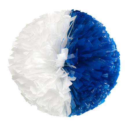 Wetlook Cheerleader Pom-Poms - 4 in. Half-n-Half with Baton Handle