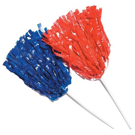 Wide Strand Pom-Poms with Stick Handle - Solid Color