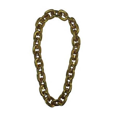 Jumbo Chain Link Bead Necklace - Gold