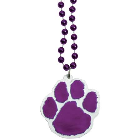 Purple Paw Medallion with Purple Beads
