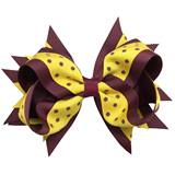 Spirit Hair Bow Clip - Burgundy/Gold